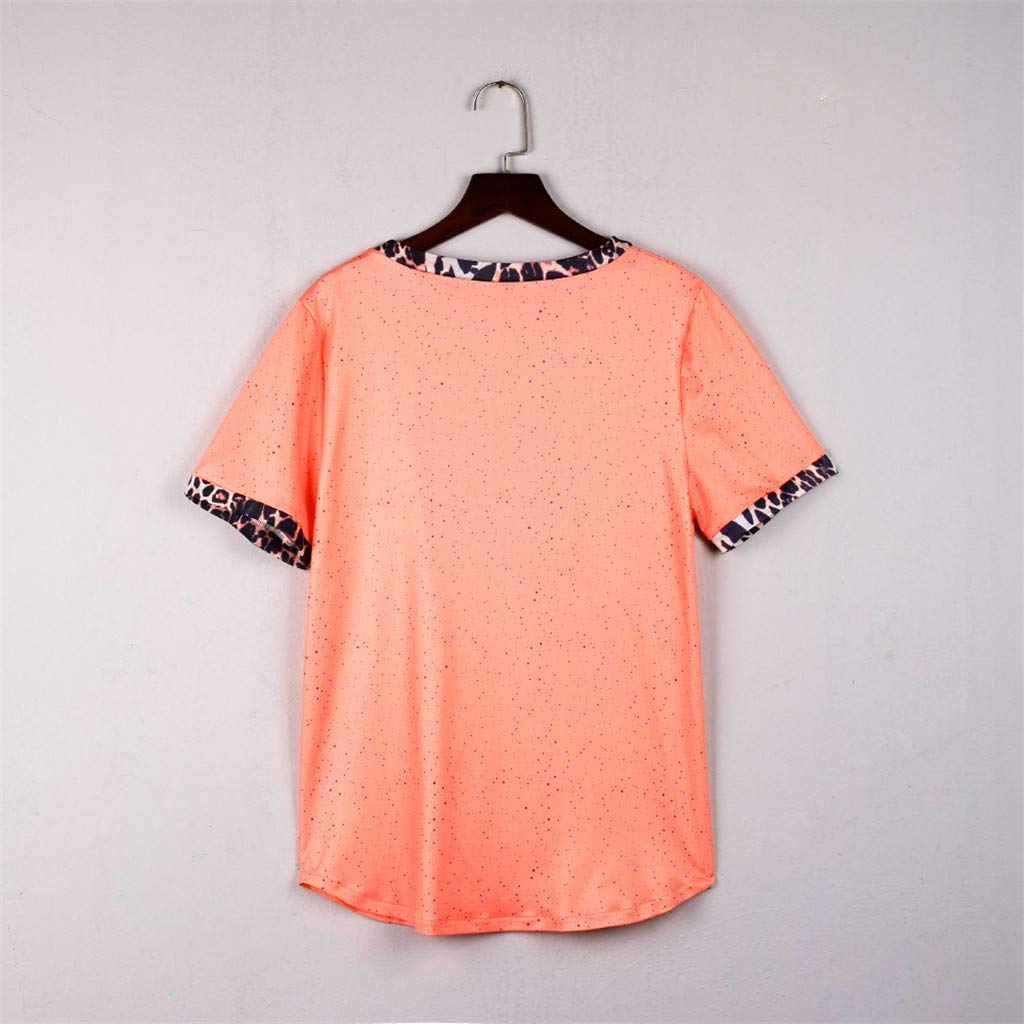 Womens Short Sleeve Tee - On Sale Fashion Pocket Leopard Dot Print Summer Casual Loose Breathable Blouse Top by Dacawin-Women Tops (Image #8)