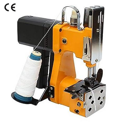 HUKOER Máquina Cosedora de Sacos Eléctrica Portátil Selladora Industrial para Bolsas de Tela, PVC, Papel, Plástico, Lona, Papel de Aluminio