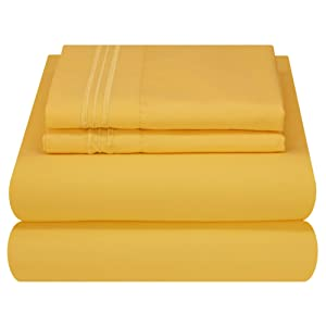 Mezzati Luxury Bed Sheet Set - Soft and Comfortable 1800 Prestige Collection - Brushed Microfiber Bedding (Yellow, Twin Size)