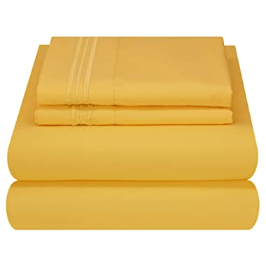 Mezzati Luxury Bed Sheet Set - Soft and Comfortable 1800 Prestige Collection - Brushed Microfiber Bedding (Yellow, King Size)