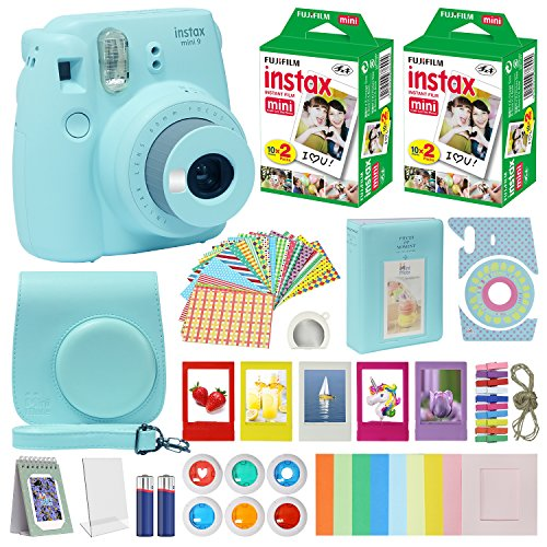 Fujifilm Instax Mini 9 Instant Camera ICE BLUE with Custom Case + Fuji Instax Film Value Pack (40 sheets) Accessories Bundle, Color Filters, Photo Album, Assorted Frames, Selfie Lens + More ()