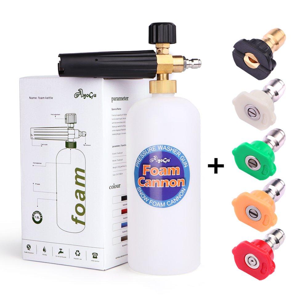 AYOGU Foam Cannon Adjustable Snow Foam Lance with 1/4 Quick Connector Foam Blaster for Pressure Washer Gun 1 Liter Bottle,5 Pressure Washer Nozzles for Cleaning (Foam Cannon with 5 Nozzles) by AYOGU (Image #1)