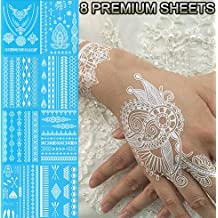 Tastto 8 White Lace Henna Body Paints Jewelry Temporary Tattoos