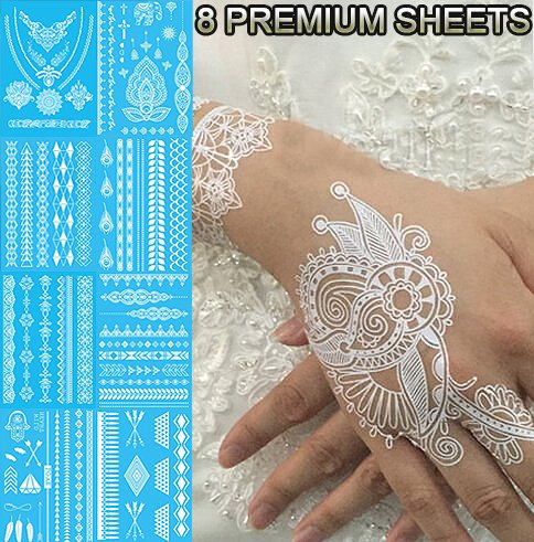 Tastto Lace Henna Temporary Tattoos, White, 8 Sheets (Tribal Print Tattoos)