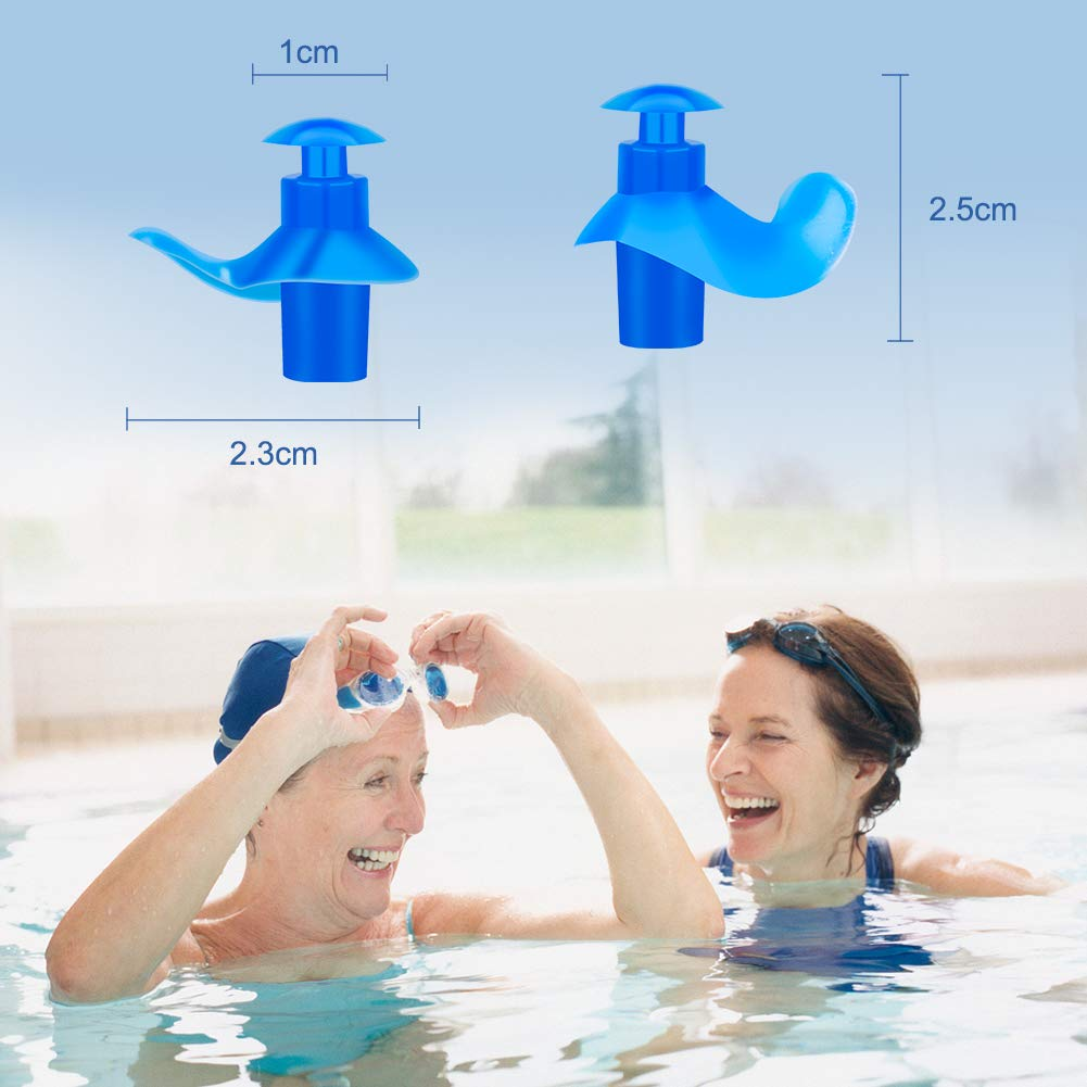 Reusable Silicone Waterproof Ear Plugs for Swimming Showering Surfing and Other Water Sports(2 Pair) Coquimbo Swimming Ear Plugs for Adults with Storage Case