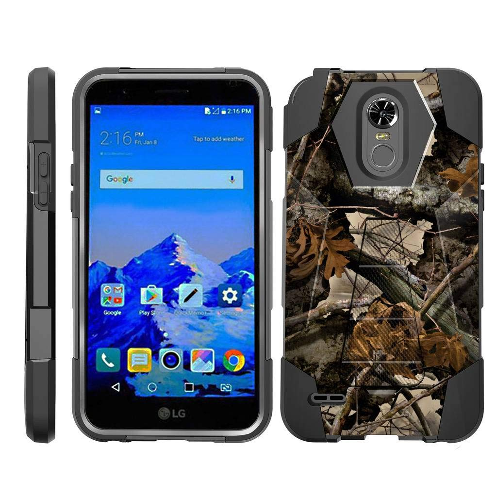 TurtleArmor | Compatible for LG Stylo 3 Case | LG Stylus 3 Case | Stylo 3 Plus [Dynamic Shell] Hybrid Dual Layer Hard Shell Kickstand Silicone Case - Tree Leaves Camouflage