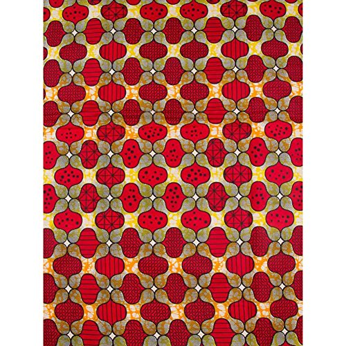 Premier African Material Super Deluxe Wax Red Flower Design Fashion (Super Deluxe Lace)