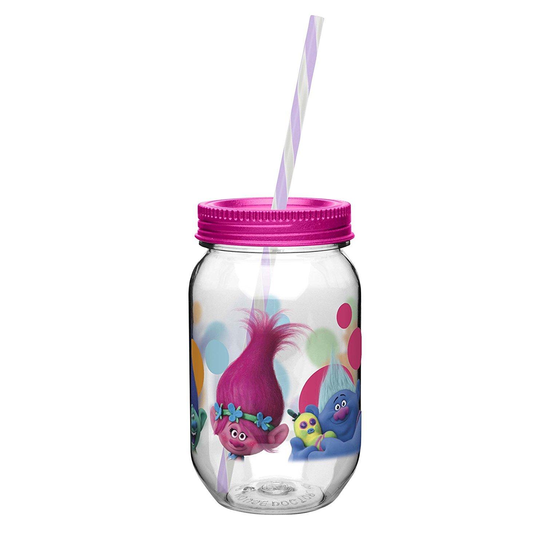 【日本未発売】 Kids Trolls Mason Jar B0768PGLDF Cup Cup with Screw on蓋 Resistant、ストロー、Break Resistant Jar B0768PGLDF, サプリストック:02dd7e6d --- a0267596.xsph.ru