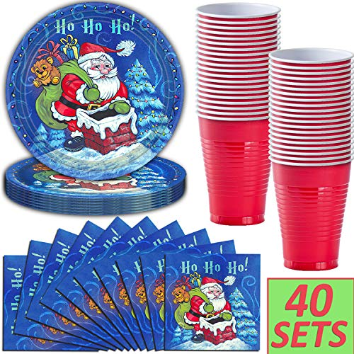 Christmas Santa Party Supplies - 40 Sets - Dinner Plates, Napkins, 12 oz Plastic Cups - Winter Holiday Disposable Tableware Pack with Trees, Snow, and Santa Claus -