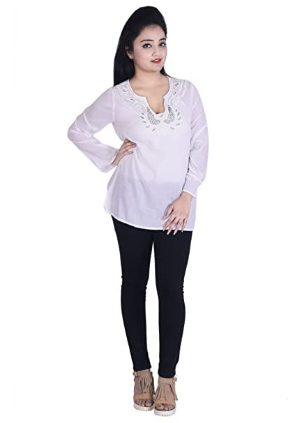 Swell Ottoman Fashions White Cotton Embroidered Womens Kurtis Frankydiablos Diy Chair Ideas Frankydiabloscom