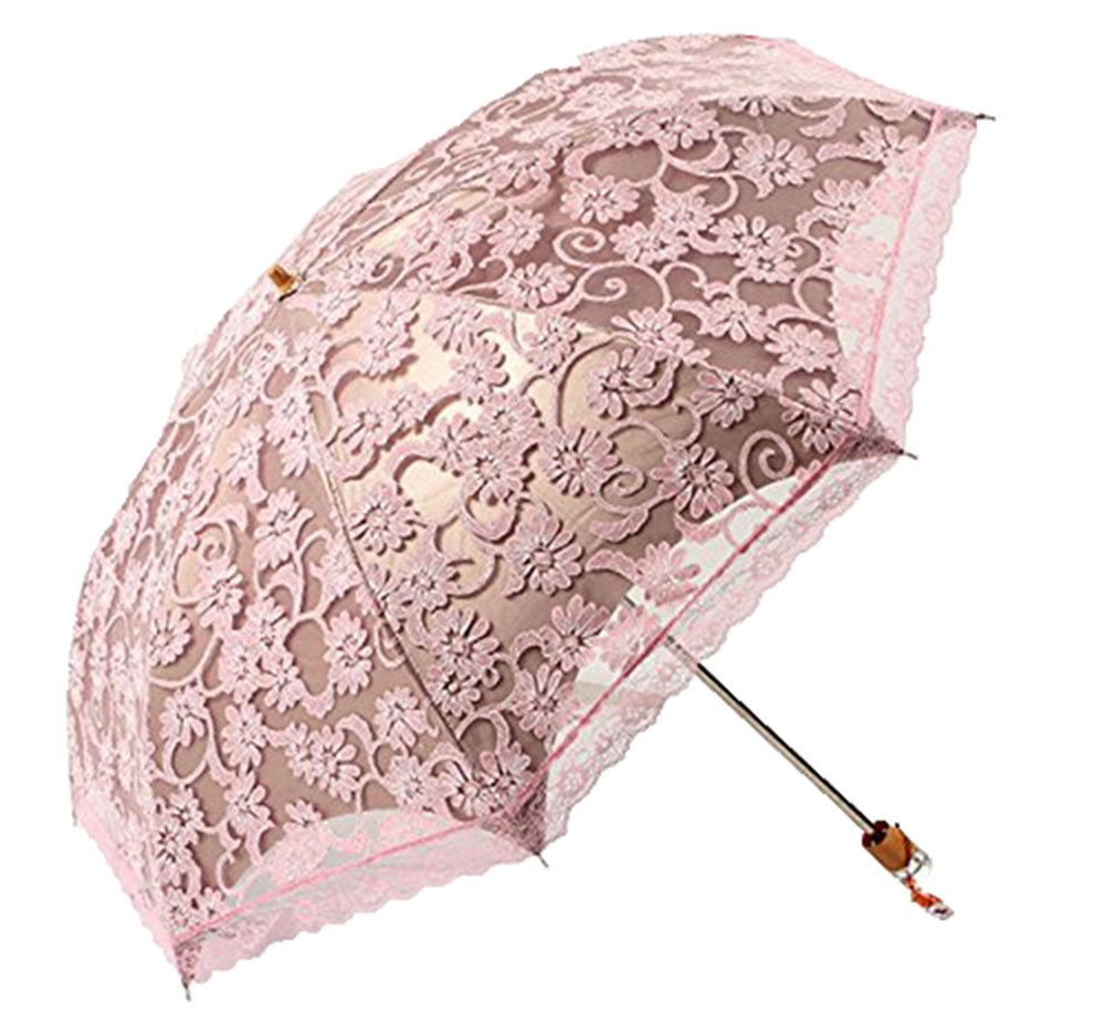 niceEshop(TM) Compact Lace Wedding Parasol Folding Travel Sun Umbrella UV Block (Pink)