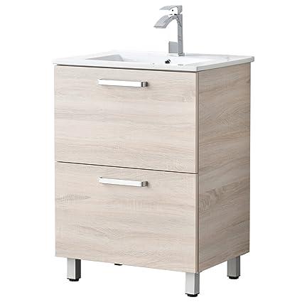 LifeSky LIF BC028 Danube Oak Cabinet With 2 Drawers Ceramics Sink Bathroom  Vanity, 24