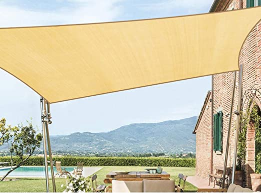 SHADE HDPE Rectángulo Sun Sail Canopy 98% Bloque UV Jardín al Aire Libre con Kit de Hardware Gratuito,Beige,3.1 * 4m: Amazon.es: Hogar