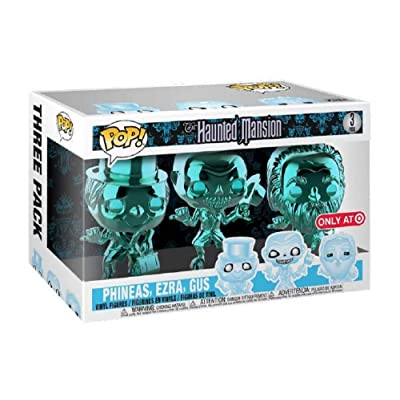 POP! Disney The Haunted Mansion 3 Pack Teal Metallic Chrome, Phineas, Ezra, Gus; Exclusive!: Toys & Games
