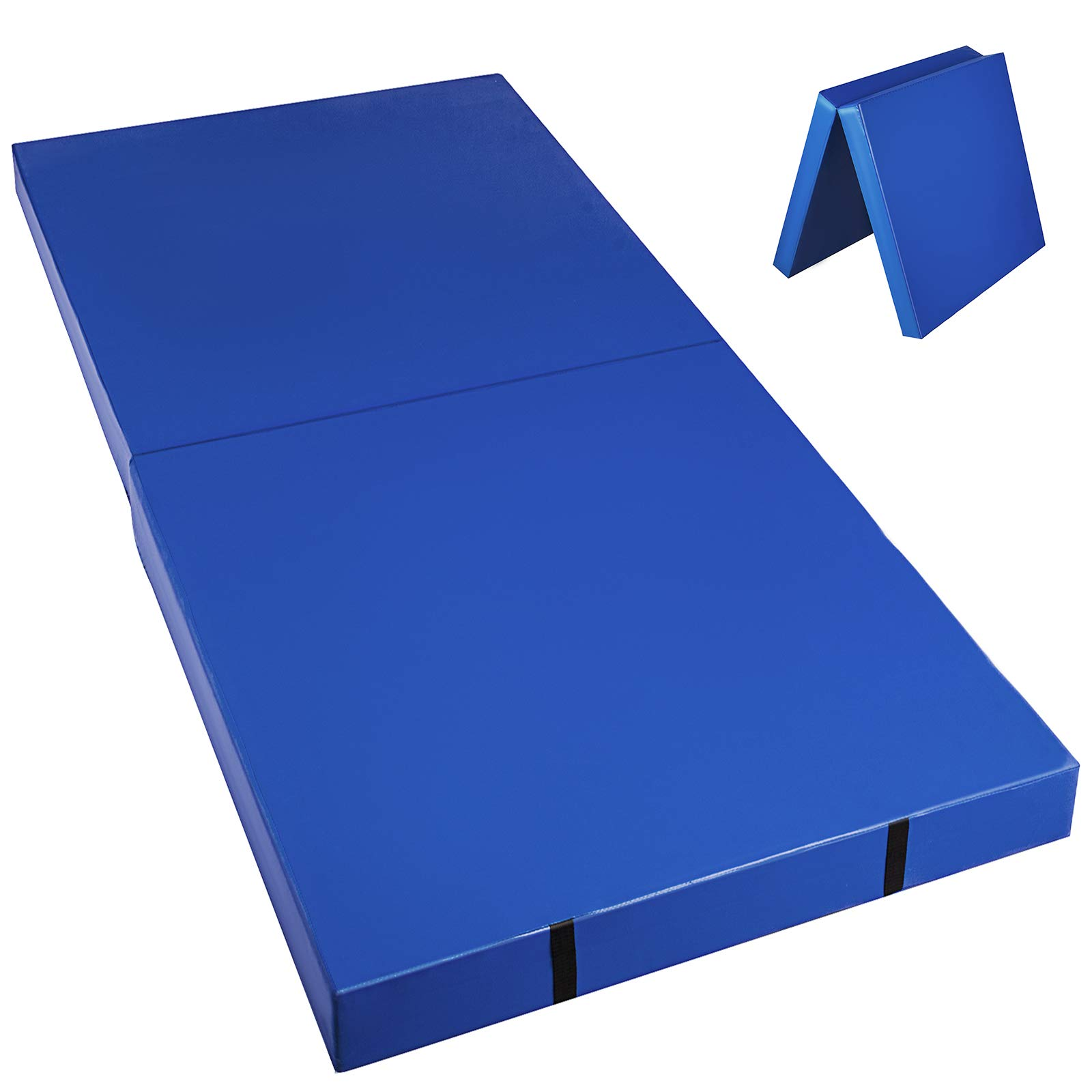 Happybuy Junior Practice Mat 6x3x4 inches Blue Folding Gym Mat High Density Folding Mat 4 inch Thick for Gymnastics Stretching Core Workouts