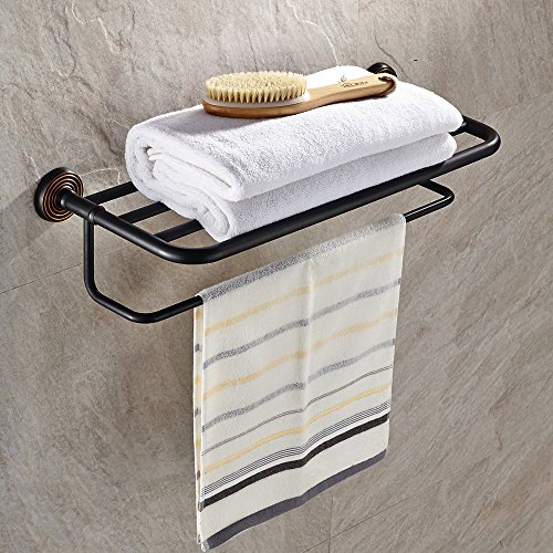 Chic Leyden Brass Triple Black Bath Towel Bar Shelf Rack Hanger With