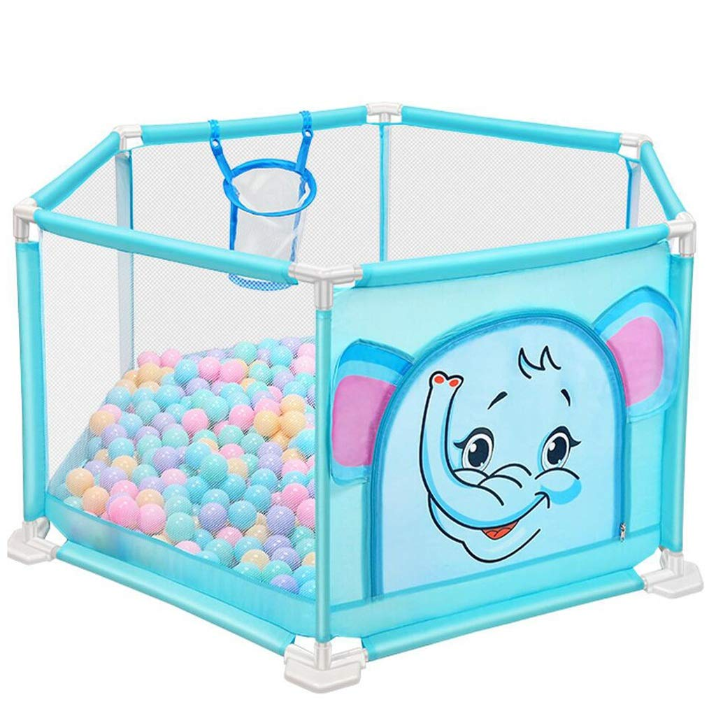 Yxsd Portable Baby Playpens,Kids Fence, Indoor Outdoor Folded Boys Girls Safety Play Center Yard (Color : Blue)