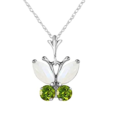 Amazon 07 ctw 14k 14 solid white gold butterfly necklace opal 07 ctw 14k 14quot solid white gold butterfly necklace opal peridot pendant aloadofball Gallery