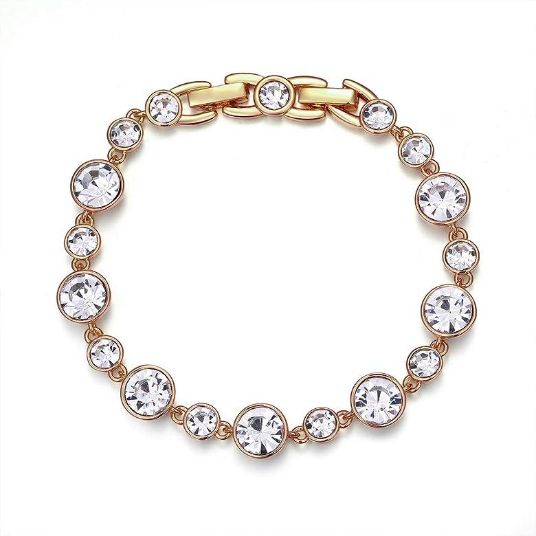 Redondo Swarovski Element Pulsera de circonio cúbico, Pulsera chapada en Oro Rosa de 18 k, Pulsera de Tenis [18cm] Regalos de San Valentín para el Día de la Madre en Navida (Oro