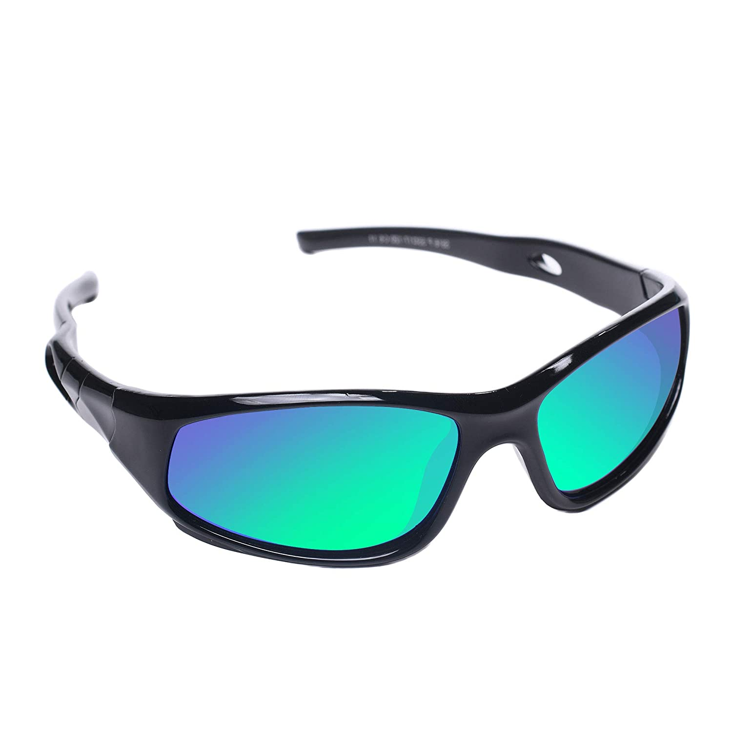 ea4d7bf1087d Amazon.com: AODUOKE Sports PolarizKids Sunglasses For Boys Girls Children  Youth Sunglasses With Strap (Black | Green Lens): Clothing
