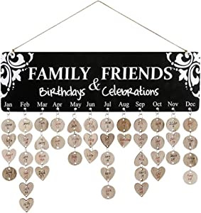 Joy-Leo Gifts for Mom Dad - Wooden Birthday Celebration Reminder Calendar Plaque for Family Friends Classroom [100 Wood Tags with Holes & Jump Rings], Decorative Birthday Tracker Board Wall Hanging