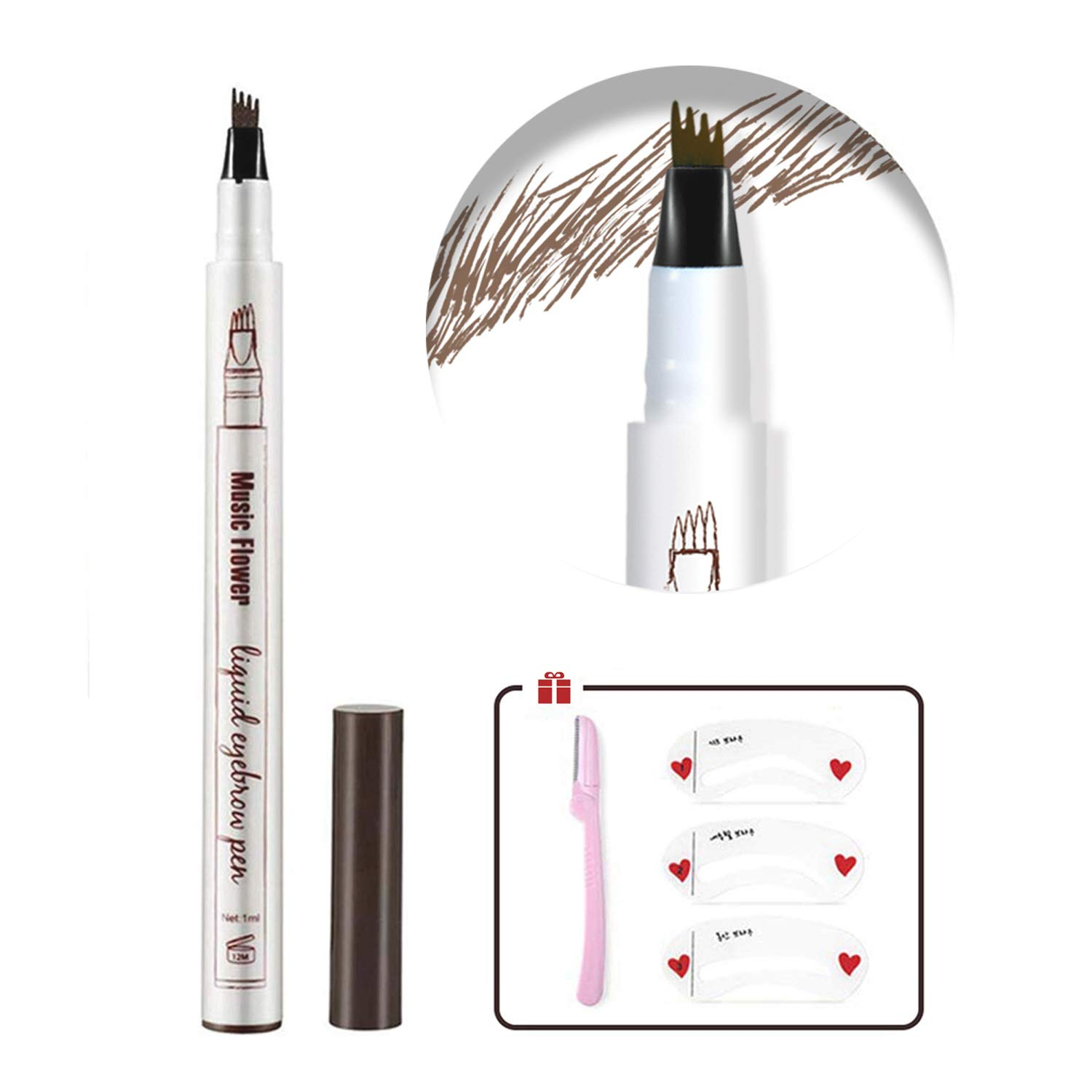 Eyebrow Tattoo Pen,Microblading Eyebrow Pencil Waterproof Microblade Brow Pen Make Up with a Micro-Fork Tip Applicator Creates Natural Looking Brows Effortlessly and Stays on All Day (4# Black)