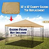 BenefitUSA 10'X10' Replacement Top Gazebo Canopy Cover Patio Pavilion Sunshade Plyester Single Tier (Beige)