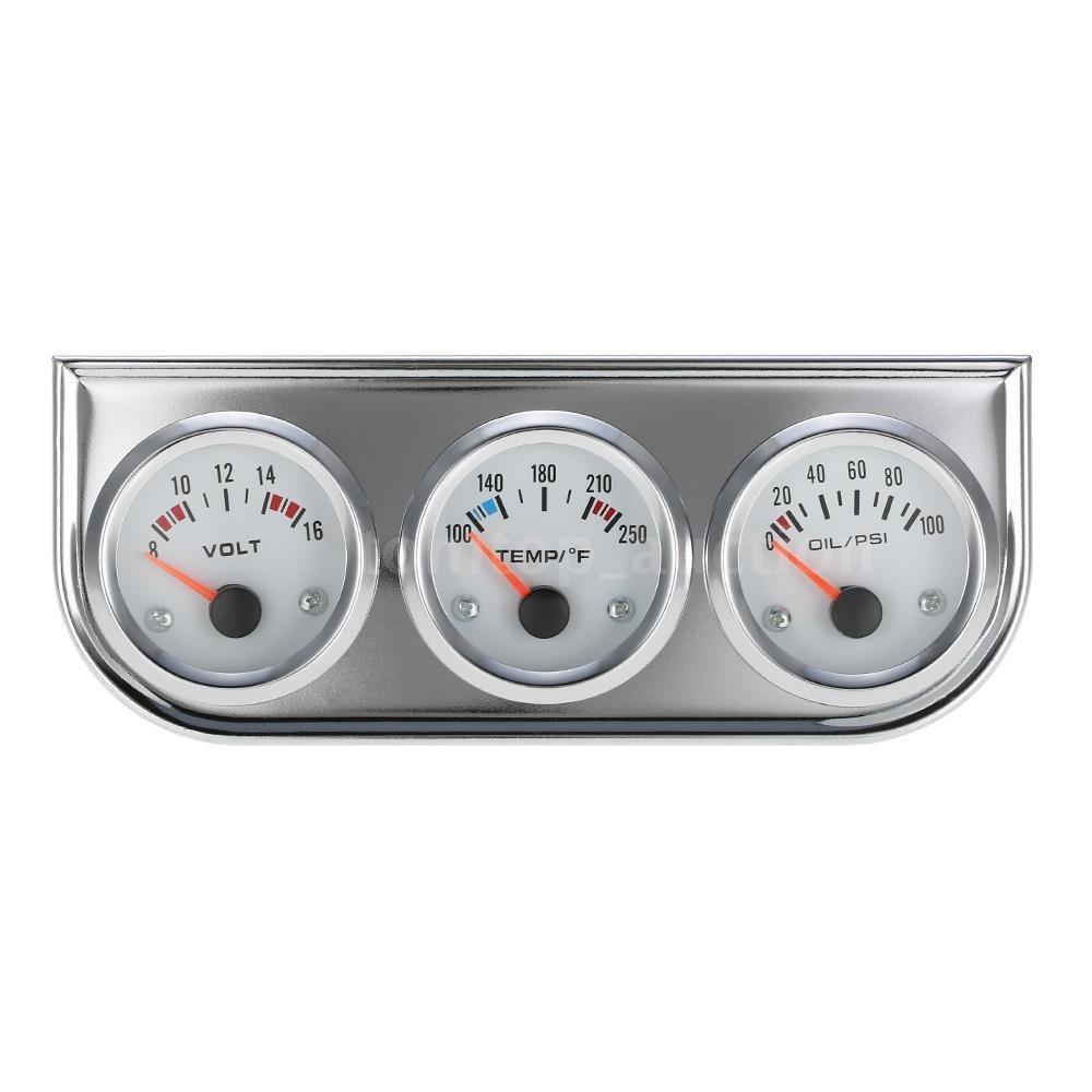 FidgetFidget Voltmeter +Water Temp +Oil Pressure Auto Gauge Meter 3in1 w/Sensor P5G8 52MM