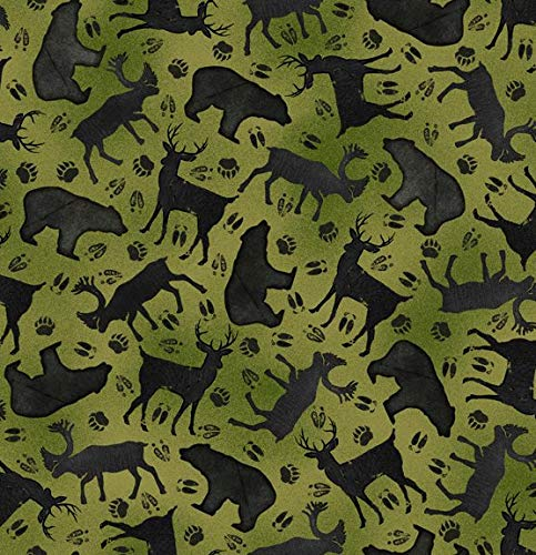 Moose Trail Lodge - Wildlife Fabric Moose Trail Lodge Silhouettes in Green from Quilting Treasures 100% Premium Quality Cotton Fabric by The Yard
