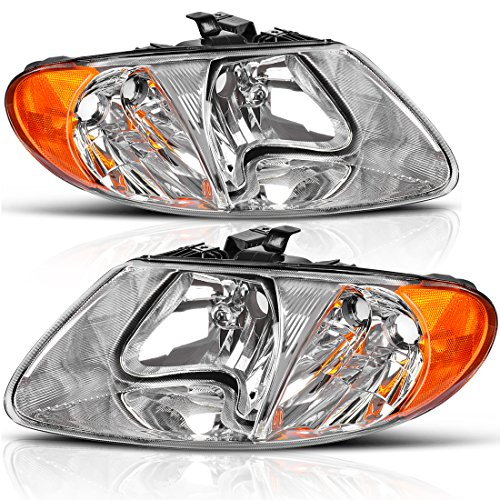 Headlight Assembly OE Style Headlamps Replacement for Dodge Caravan 2001-2007/ Chrysler Van 2001-2007 (Driver and Passenger Side)