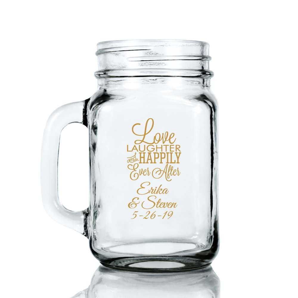 Personalized Color Printed 16-ounce Mason Mug - Love Laughter And Happily Ever After - Gold - 72 pack