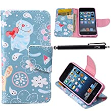 iPod Touch 5 Case, i Touch 6 Case Wallet, iYCK Premium PU Leather Flip Folio Carrying Magnetic Closure Protective Shell Wallet Case Cover for iPod Touch 5/6 with Kickstand Stand - Cartoon Fat Cat