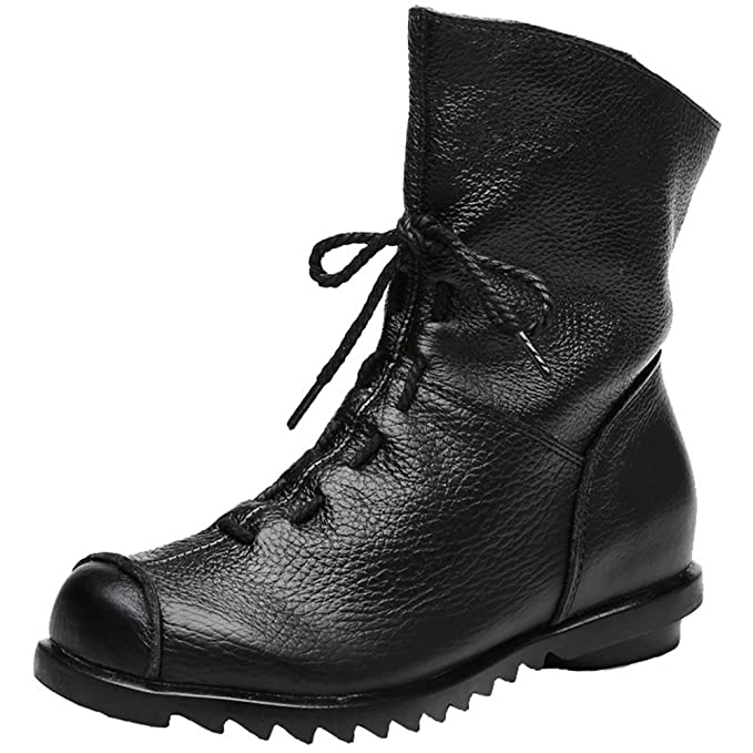 35c0741003 Women's Genuine Leather Casual Soft Flat Boots