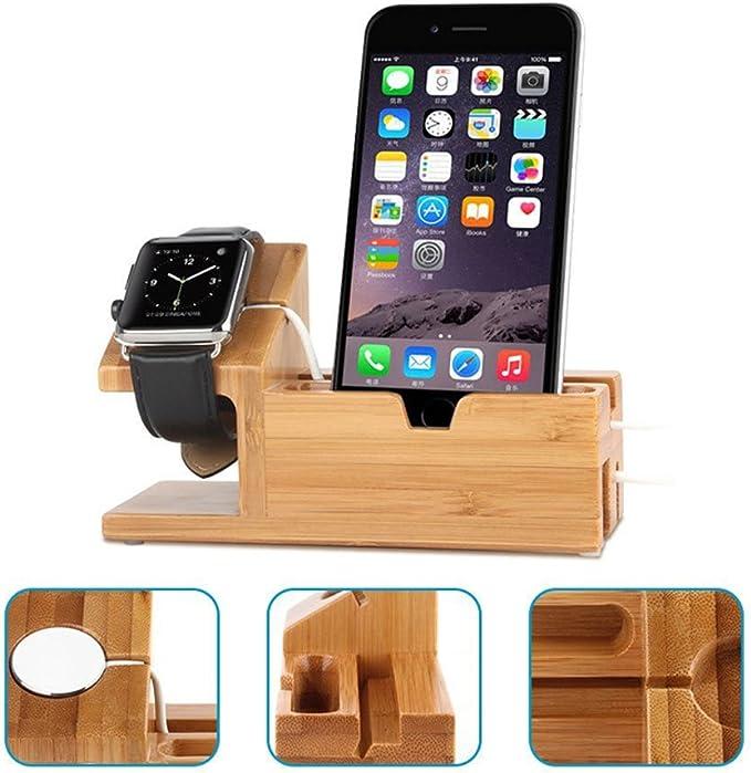 Efanr bambú madera 3 USB puertos estación de carga multifunción ...