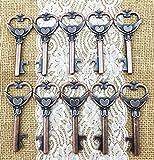 100 Large Copper Heart Antique Skeleton Key Wedding Favor Bottle Openers Rustic Decoration Bridal Shower