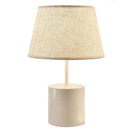 Hbwz Lámpara de mesita de Noche Luz de Dormitorio de Lino ...