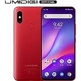 "UMIDIGI F1 Smartphone Libres Android 9.0 Teléfono Inteligente Dual SIM 6.3""FHD + 128GB ROM 4GB RAM Helio P60 5150mAh Batería 18W Carga rápida Teléfono móvil con NFC 16MP + 8MP Cámara [Rojo]"