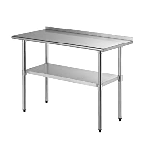SUNCOO Stainless Steel Commercial Kitchen Prep & Work Table Kitchen Prep Workbench Metal Restaurant Countertop Workstation with Backsplash, Adjustable Undershelf 48 x 24 Inches