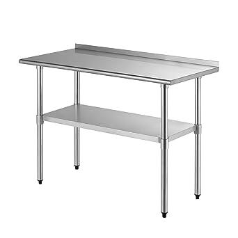 SUNCOO Stainless Steel Commercial Kitchen Prep & Work Table Kitchen Prep  Workbench Metal Restaurant Countertop Workstation with Backsplash,  Adjustable ...