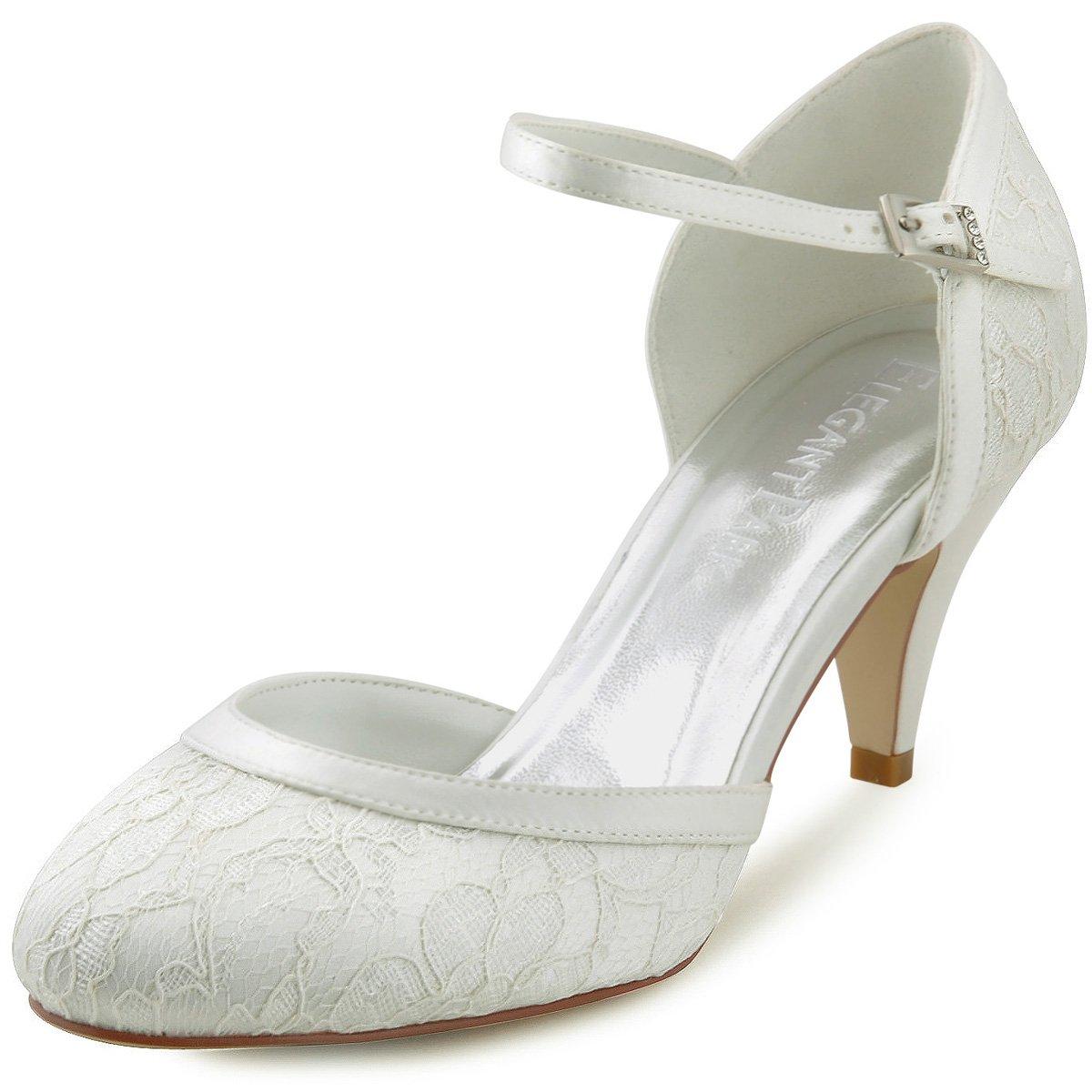 Elegantpark HC1508 Escarpins Femme Dendelle Bride Cheville Boucle Bout Rond Mary Janes Talon Dentelle Chaussures Pompes