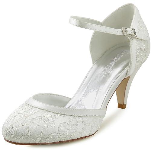 Elegantpark Cerrado Zapatos Con De Novia Lace Mujer Zapato Tacón Hc1508 Cierre 6y7fYbg