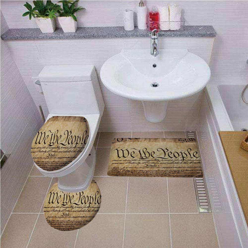 Bath mat set Round-Shaped Toilet Mat Area Rug Toilet Lid Covers 3PCS,United States,Vintage Constitution Text of America National Glory Fourth of July Image,Light Brown ,Bath mat set Round-Shaped Toile by iPrint