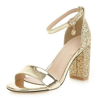 a0e6923d83 DecoStain Womens Glitter Sequin Pumps Shoes Ankle Strap Block Heel Party  Wedding Dress Sandals