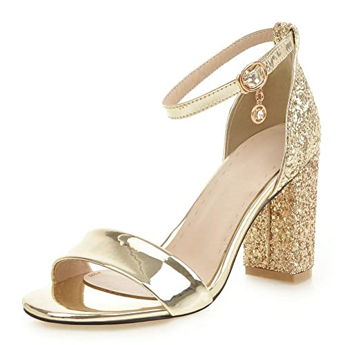 6129ebf3a DecoStain Womens Plus Size Glitter Sequin Pumps Shoes Ankle Strap Block  Heel Party Wedding Dress Sandals