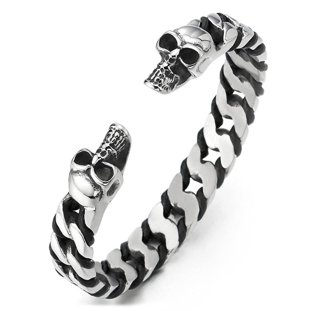 COOLSTEELANDBEYOND Men Women Elastic Adjustable Steel Skull Solid Curb Chain Black Leather Cuff Bangle Bracelet