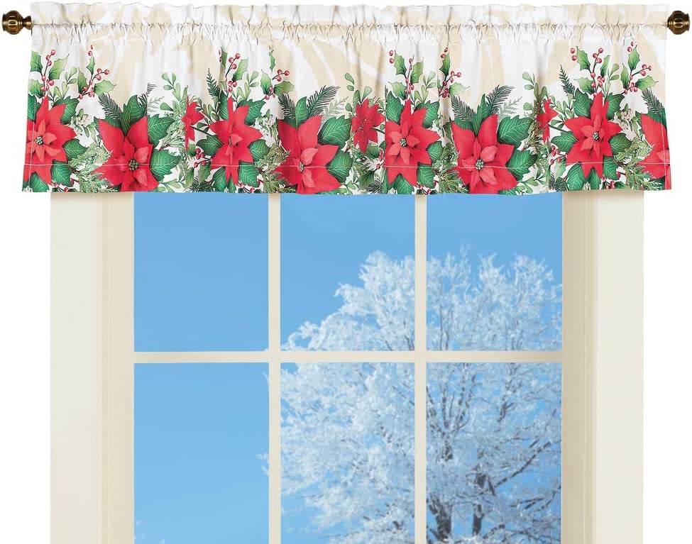 Collections Etc Poinsettia Bloom Window Valance Curtain - Festive Winter Accent