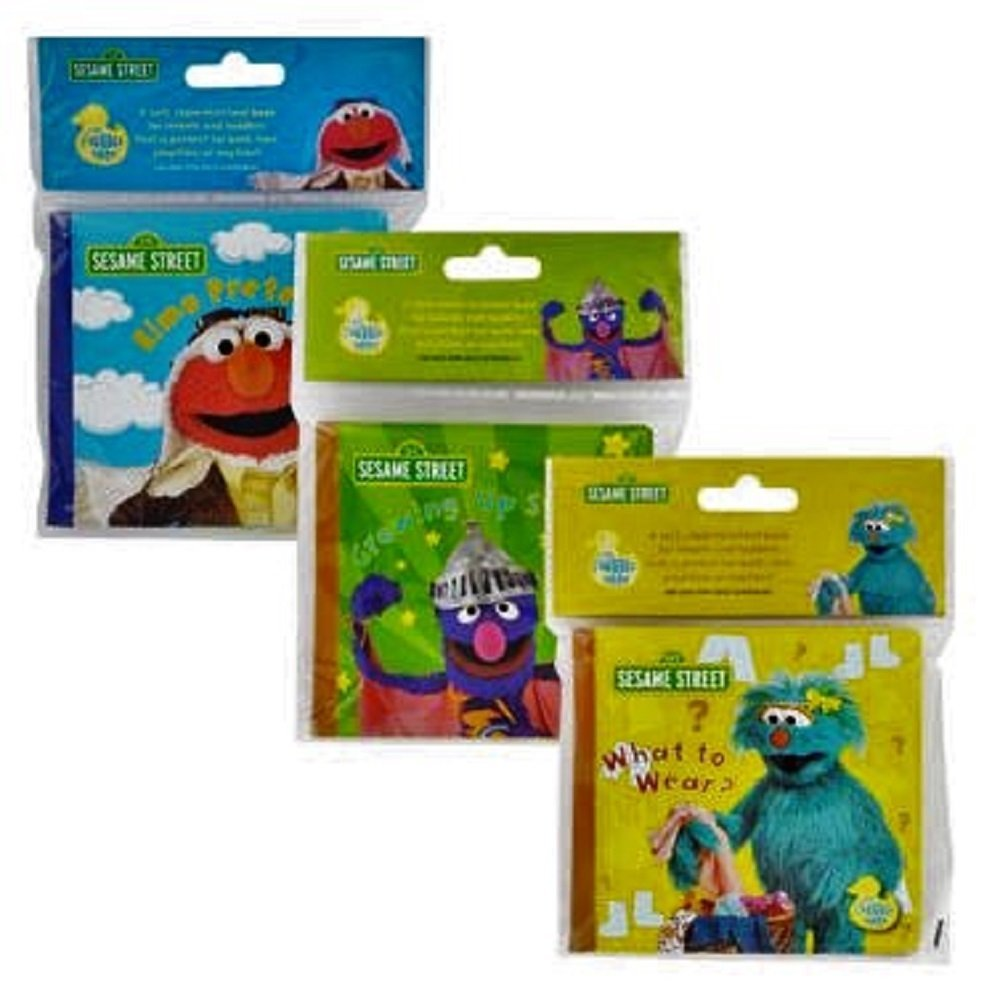 Sesame Street Bath Time Bubble Books -Three Piece Set- Elmo Pretends!, Growing Up Strong!, and What To Wear! 2015