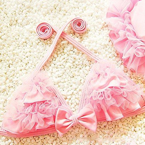 hibote Traje de los cabritos del cord¨®n de Nataci¨®n del bikin¨ª de las tres piezas traje de bano de los beb¨¦s del Bowknot del traje de bano de bano Bikinis C4