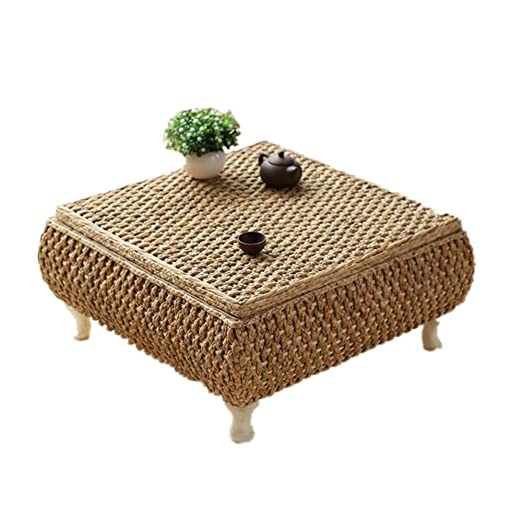 NBRTT Bay Window Table Rattan Tatami, Mesa de té de Paja Hecha a ...