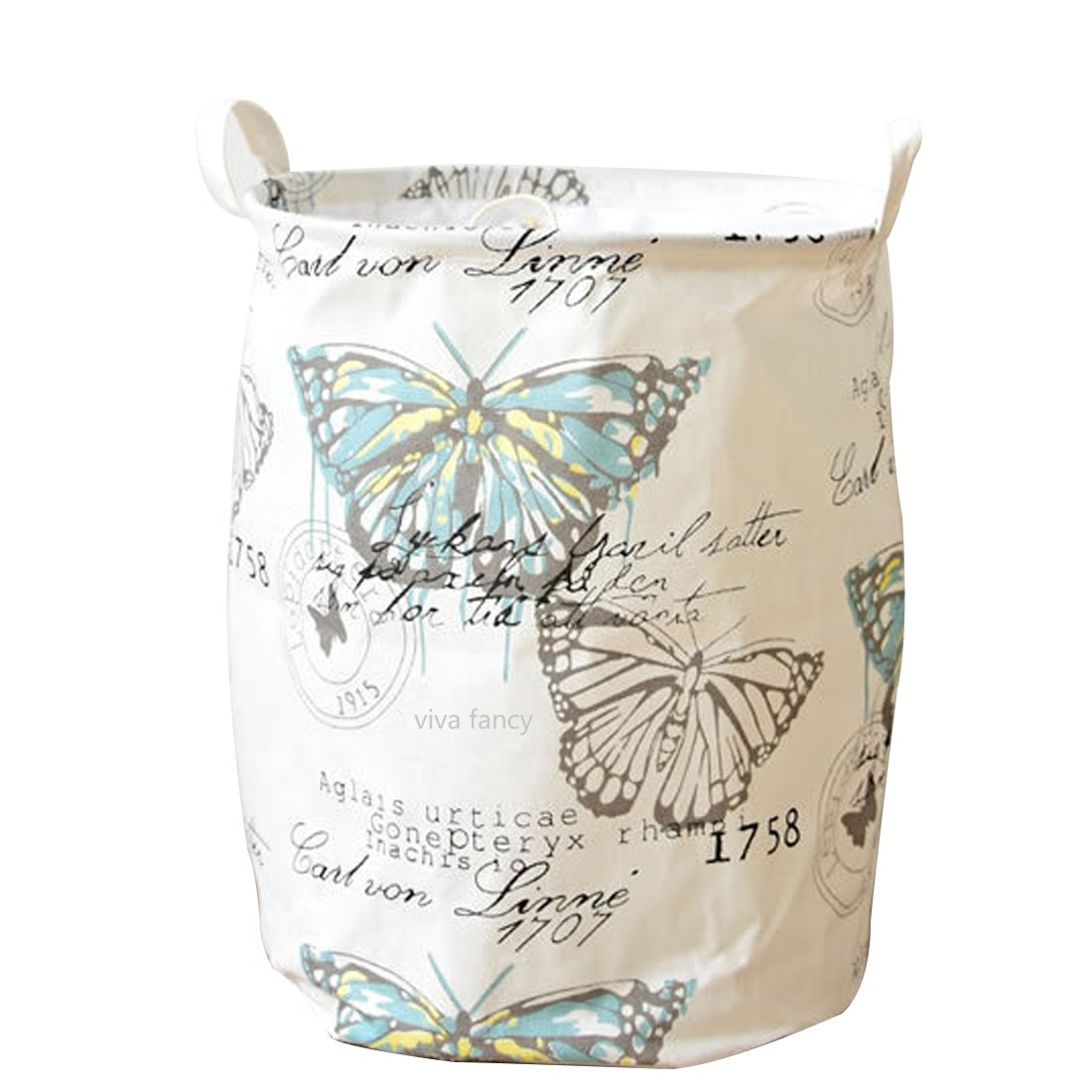 17.5 Large Collapsible Butterfly Laundry Hamper Bagswith Handles, Waterproof Laundry Toy basket with Drawstring Round Storage Bag Bins Dirty Clothes Storage Organization for Dorm Home